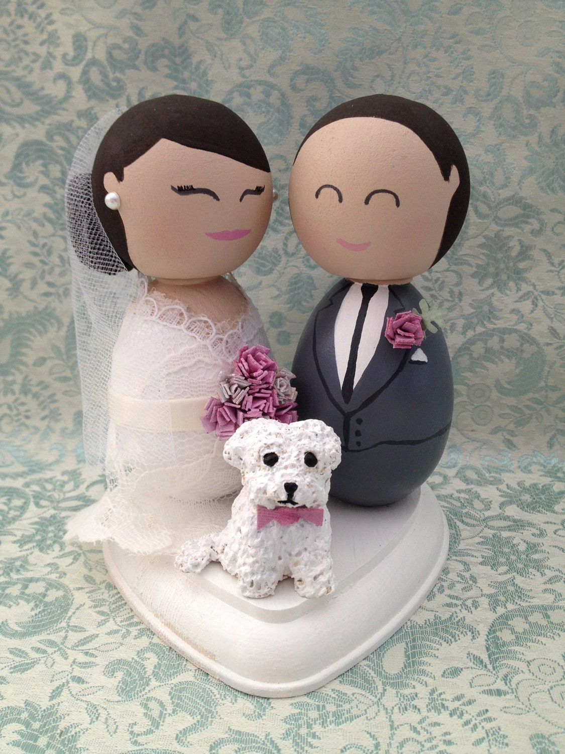 Custom Wedding Cake Topper Bride Groom and Dog