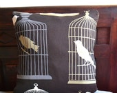 Bird Cage Linen Decorative Pillow Case - Linen Decorative Pillow Case - Liquidshiva
