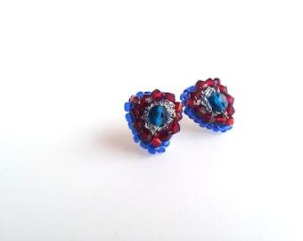 small earrings, stud earrings, triangular earrings, jewelry, embroidery, geometric, handmade