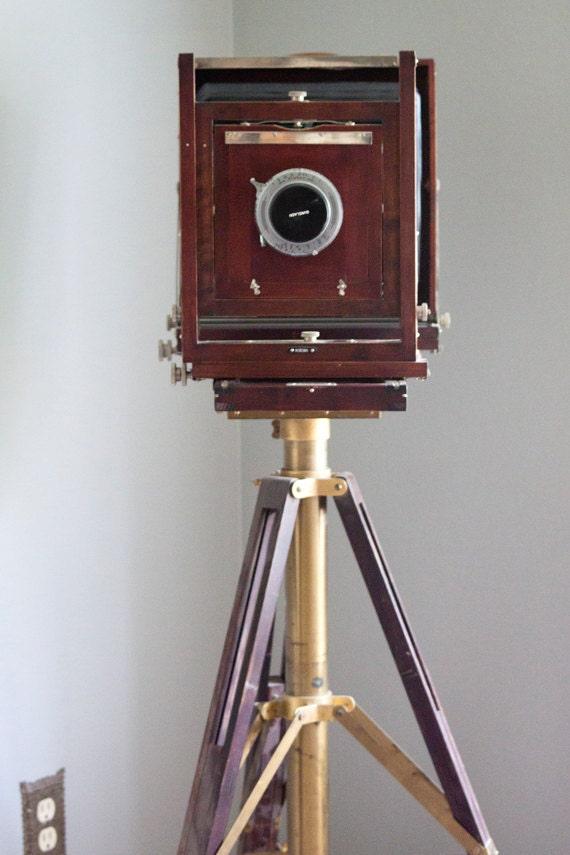 Vintage Gundlach Korona  8 x 10 field camera with wood and Brass Tripod
