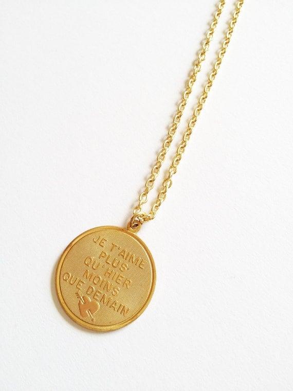 Ju t'aime French I Love You Vintage necklace :) Plus Qu' Hier Moins Que Demain Antique Retro Jewelry
