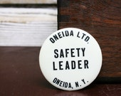 "Vintage Industrial ""Safety Leader"" Button -- Factory Lapel Pin"