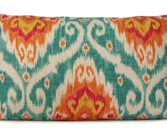 Iman Ubud Sunstone Ikat Pillow Cover in Turquoise, Orange, Fuchsia - Lumbar Decorative Pillow - Throw Pillow - Accent Pillow - Custom Pillow