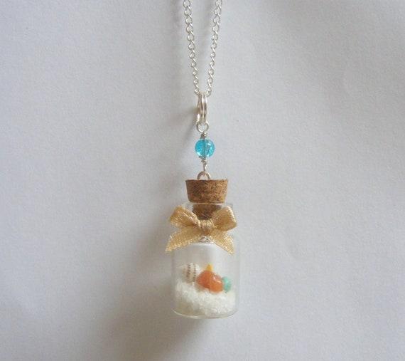 SALE Beach in a Bottle Necklace, Miniature Bottle Pendant, Mini Bottle Jewelry, Wish Bottle, Summer Necklace, Beach Pendant, Shell Necklace