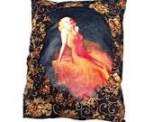 Tangerine Pillow Handmade Old Hollywood Regency Jean Harlow Blonde Pin Up Girl - Orange, Black, & Gold Bedding Decor with Hand-Sewn Rosettes