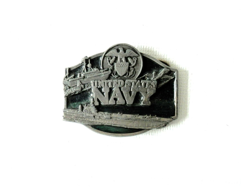 1987 us navy belt buckle pewter and emerald green by bigbangzero