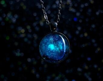 Glow in the Dark Galaxy Necklace / Tarantula Nebula Space
