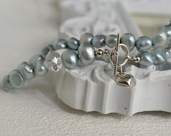 Pastel blue pearl bracelet, all pure silver, Heart Love Charm, Preppy vintage chic, gift for her, UK Jewellery Fashion