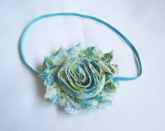 Blue Floral Baby Headband, Baby Girl Headbands, Baby Bows, Infant Headbands, Infant Bows, Newborn Headbands