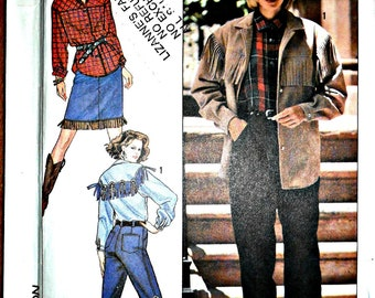 Misses Western Shirt, Skirt, Fringe Jacket and Jeans Pants Sewing Pattern Simplicity 9454 Size 8 10 12 14