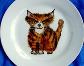 personalised cat plate, hand painted plate, keepsake, ceramic cat plate, keepsake, personalised plate,