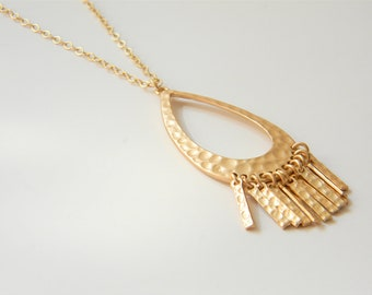 "Gold Necklace -Hammered Gold Fringe Necklace - Long Necklace - 24"" - Hammered Gold Fringe Pendant on Matte Gold Chain"