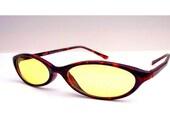 Tortoise Shell Cat Eye Eyeglasses Oval CatEye Frames with Yellow Lenses