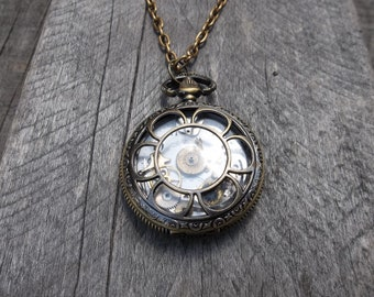 Clockpunk Steampunk Pendant Necklace, Pocket Watch Style Pendant with Ephemera on Cable Link Chain
