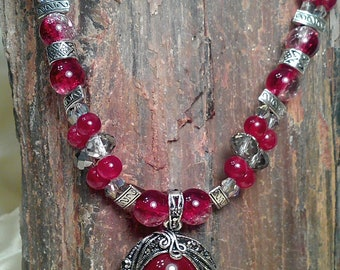 RESERVED: Lovely red carnelian pendant hangs from this lovely double stranded necklace with red ruby gems