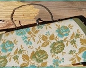 Sweet for You Periwinkle Blue / 50s Tapestry Clutch Purse / aqua blue mustard yellow champage olive green