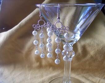 Glass Pearls Chandelier Earrings