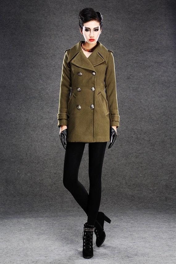 Items similar to Military Style Jacket - Classic Women's Olive ...