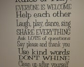 """Rules of Play-Playroom Rules vinyl decor-18""""W x 27""""H"""