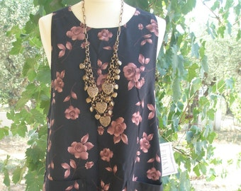 SALE-Black dress with rose pattern, new w/tags, 'Erika' Studios, no sleeve, overalls, maternity, polyester machine wash, egst, Greece
