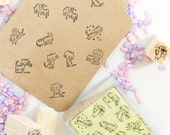 Cat Stamps Set - Rubber Stamp Set - Diary Stamps - Korean Stamps - 12 pcs in