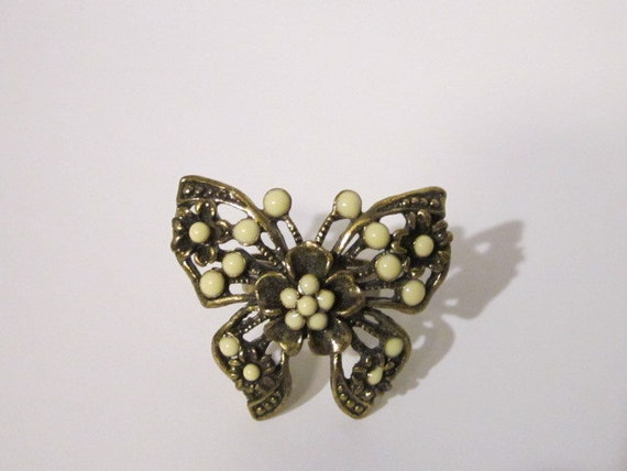 Vintage Butterfly Adjustable Ring- Costume Jewelry- Rockabilly- Kawaii- Kitschy