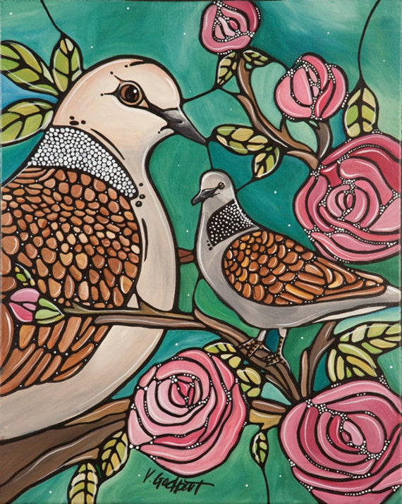 Birds and Roses Art Print - Romantic Dove Love Birds with Pink Roses - Green Illustration 8x10