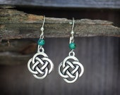Celtic Knot Earrings with Malachite on Sterling Silver Ear Wires