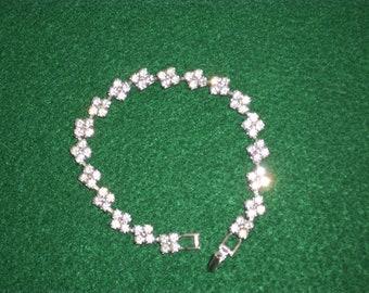 "Bracelet, Beautiful Vintage Rhinestone Silver Bracelet Size 7 1/4"""