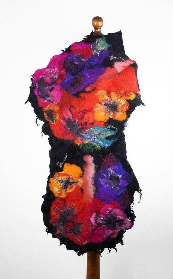 Felted Scarf Nunofelt scarf Multicolor Wrap  Art Wrap Artistic Shawl Nuno felt Scarves Felt black noir Nuno felt wearable art