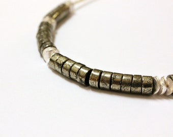 Handmade Pyrite Disc Stone and Sterling Silver coin Necklace beaded tribal rustic boho bohemian gypsy