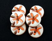 Orange Flower Ceramic Buttons.  Handmade Ceramic Buttons.  SOLD INDIVIDUALLY.