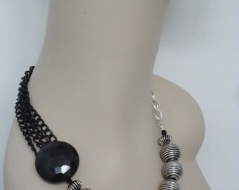 Black & Silver Metal Chain Asymmetrical Statement Necklace - ON SALE - 75% OFF
