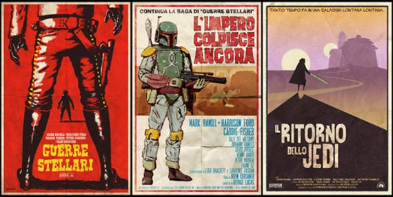 Star Wars Spaghetti Western Trilogy- 3 Posters (two sizes)