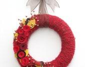 "14"" Thanksgiving/Christmas yarn wreath - The Aisling"