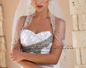 Designer One Tier Embroided Bridal Wedding Veil Fingertip Style VE310 NEW CUSTOM VEIL