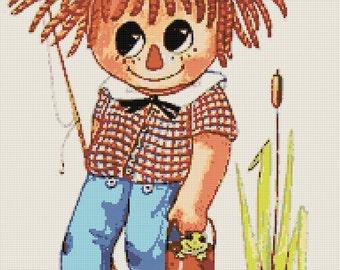 Vintage Retro Raggedy Andy Handmade Cross-Stitch Pattern