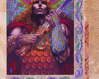 "Fantasy Art Print Nuada Silverarm 33x23"". Ireland, Irish, Celtic, Warrior, Sword, Hero, Fine Art Print, Celtic design."