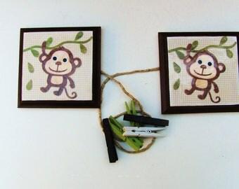 Monkey-art display hanger-  two mischievous monkeys