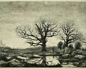 """Antique Etching """"Plateau De Belle Croix"""" Signed A. Danequin"""