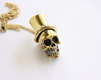Golden Skull with Top Hat Pendant / Necklace