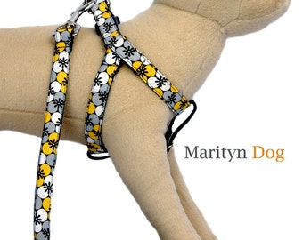 Cute step in dog harness Yellow gray floral cotton fabric pet harnesses for small dogs to large dogs Dog collar dog leash are available