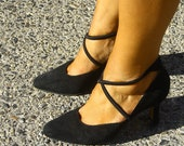90s Black Suede Shoes / Vintage Black Strappy High Heels / 1990s Sexy Sophisticated Pumps