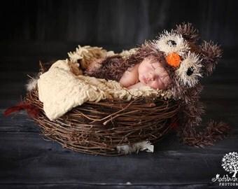 Baby Boy Hat FUZZY  Newborn Baby Boy Crochet Owl Hat  Owl hat 0 3 6 months