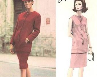 1960s VOGUE PARIS Original 1446 Vintage Sewing Pattern LANVIN Slim 2 Pc Dress Tunic Top Couture Fashion