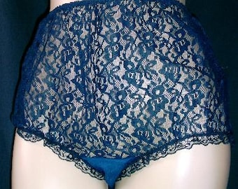 Vintage Original 1960's Burlesque style Sheer French Navy Nylon & Lace Panties
