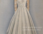 CUSTOM Wedding Dress Illustration Painting in OIL by LARA 11x14 Bridesmaid Maid of Honor Mother of the Bride