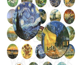 99 Cent Sale - Vincent Van Gogh Paintings - Digital Collage Sheet   - 30x40mm Ovals - INSTANT DOWNLOAD