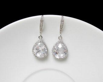 crystal clr bridal earring , zirconia drop earring , cz bridesmaid earring , cz  bridal earring , neoclassic drop earrings