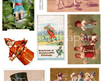 Victorian TRADING CARDS, Scrap Art, Children, Top Hat, Boys and Girls, Hearts, Wedding, Printable Digital  Collage Sheet 011